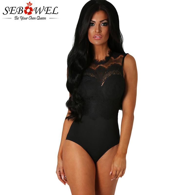 SEBOWEL Seksi Kolsuz Siyah Dantel Bodysuit Kadınlar Şeffaf Yumuşak Dolgu Çiçek Dantel Vücut Suit macacao feminino MX200402 ile Dantel Tulumlar