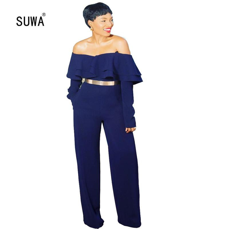 Deep Blue High Waist Women Jumpsuit Fashion Office Lady Slash Neck Ruffles Side Long Rompers Pencil Catsuit With Pocket