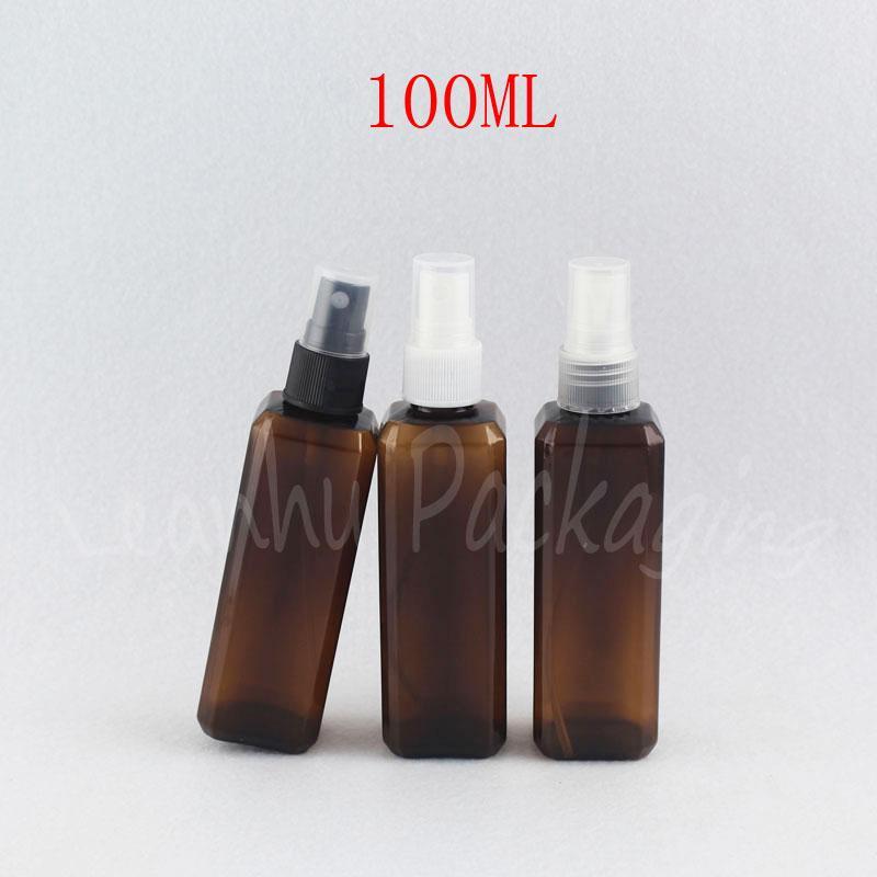 Garrafa de 100ml Brown Praça plástico com pulverizador da bomba, 100CC Toner / Água Embalagem Garrafa, Esvaziar recipiente cosmético