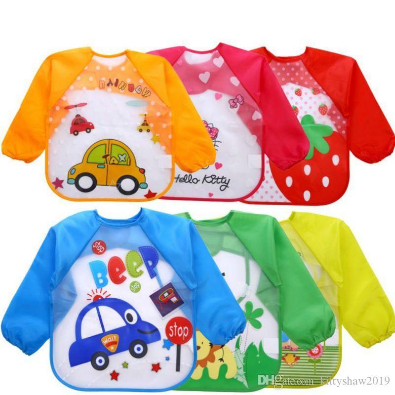 الجملة لطيف الكرتون الحيوانات الطفل المرايل للماء الملونة الأطفال تجشؤ الملابس المئزر إمدادات طويلة الأكمام التغذية