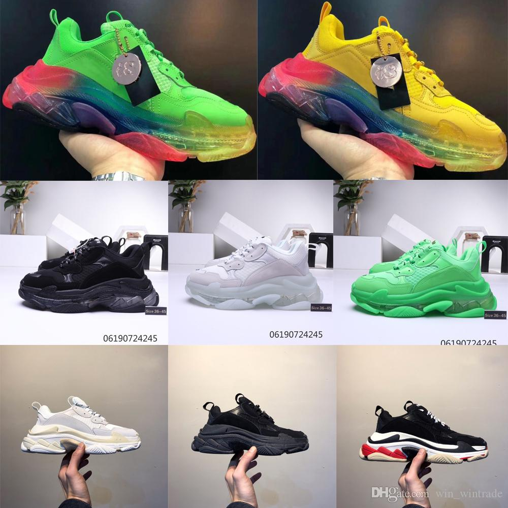 2019 Fashion-Paris Zapatos casuales 17FW Triple S Papá para hombre Mujer Beige Negro Sports Designer Triple S Shoes Tamaño 36-45