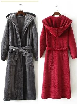 Fall Winter Hooded Couples Bathrobes Lovers Nightwear Home Clothes Flannel Warm Bath Robe Dressing Gowns For Women Men Kimono Y200429