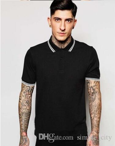 2019 Sommer neue Art und Weise Fest Polo Shirts England weiß gestreiften Kragen beiläufigen Männer London Brit Polos T-Shirt Short Sleeve Tees schwarz