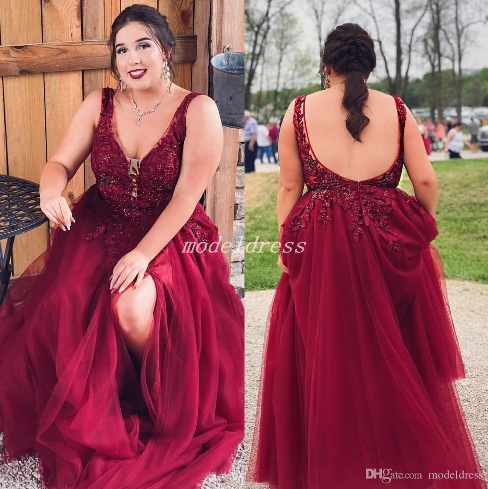 Plus Size Dark Red Side Split Prom Dresses V Neck Backless Long Appliques Beads Formal Evening Party Gowns Special Occasion Dress 2019