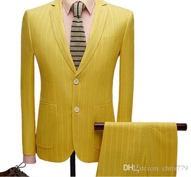 Trajes de hombre primavera y otoño nuevo traje de hombre traje de dos piezas (chaqueta + pantalones) traje formal informal de negocios a rayas amarillas