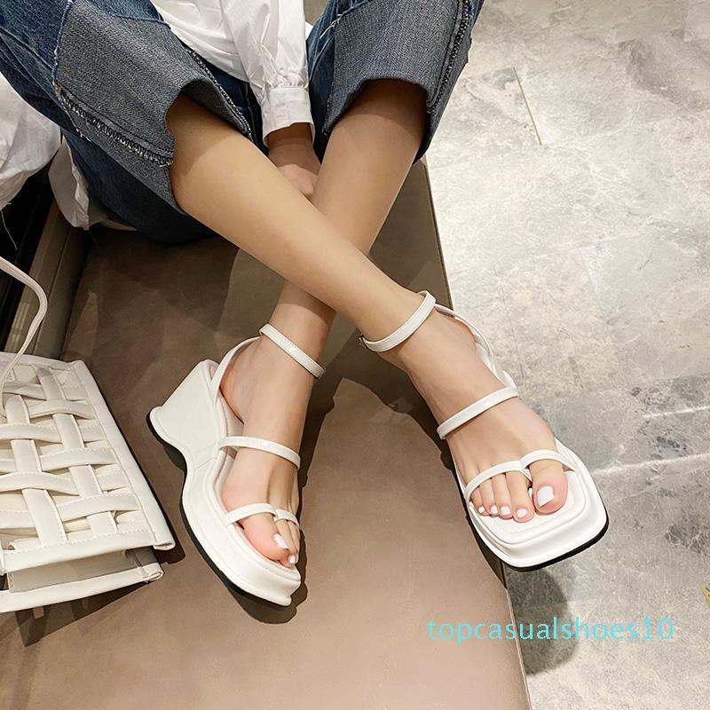 Новые летние клинья твердые женщины насосы сандалии Fasahion квадратный носок мелкий офис дамы Derss случайные 7 см высокие каблуки Женские сандалии t10