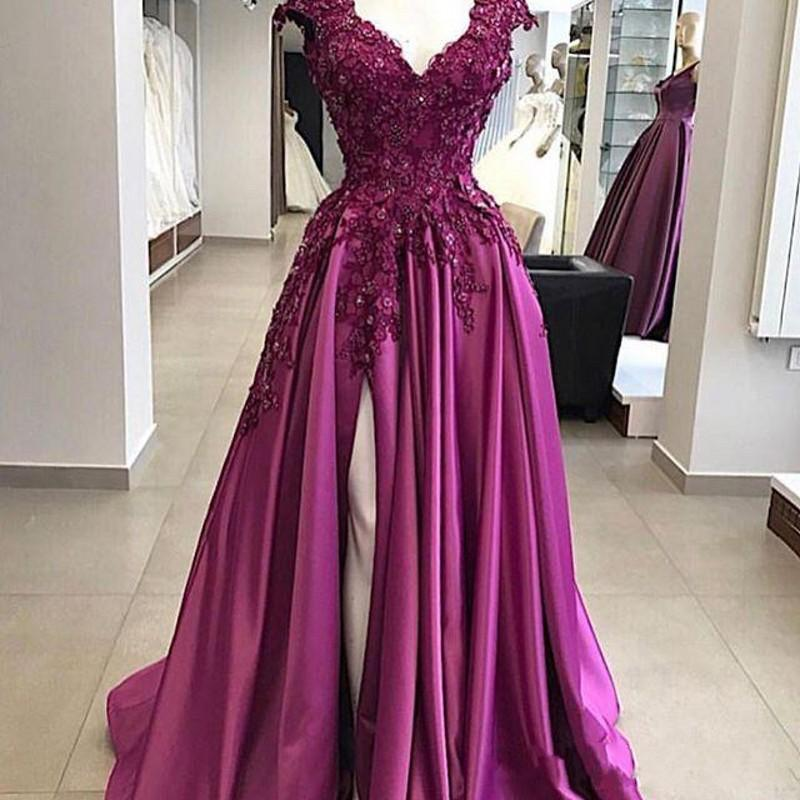 Sexy Long Fushcia A Line Prom Dresses Cap Sleeve Deep V Neck Beads3D Floral Appliques Side Split Satin Party Gowns Formal Evening Dress