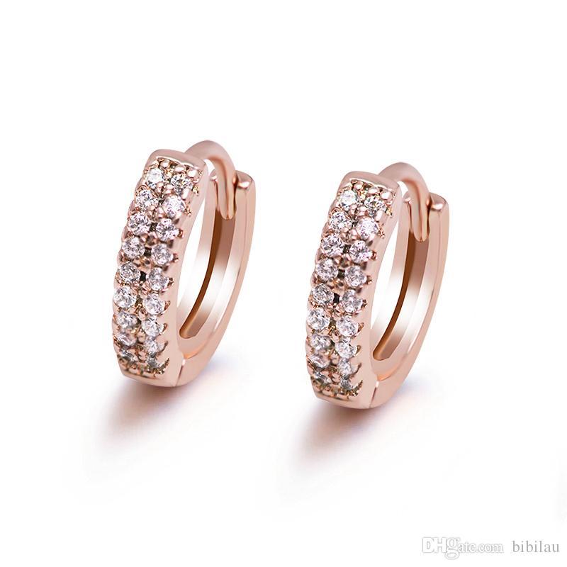 MGFam (608E) placcato oro rosa piccolo 2 linea CZ orecchini a cerchio per le donne moda gioielli svegli 2019 nuovo design di buona qualità