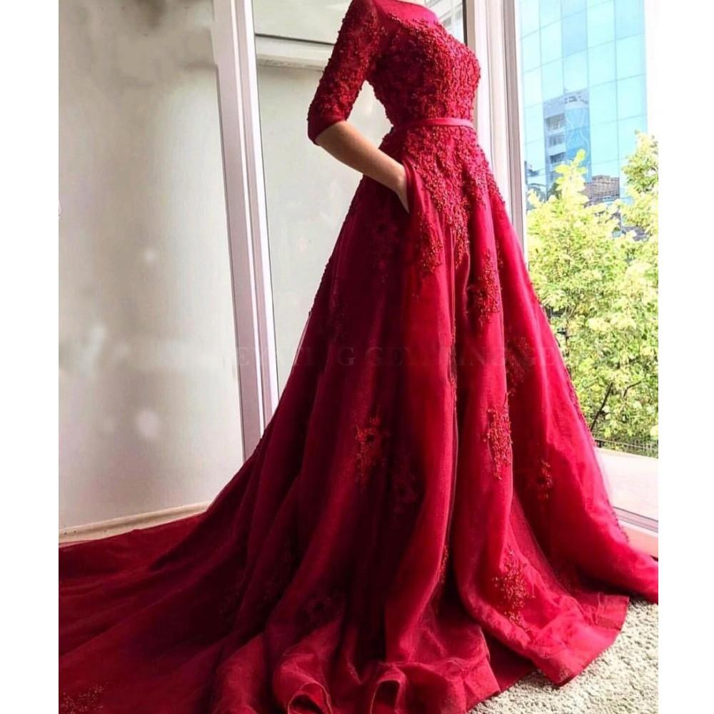 2020 Sexy Elegant Ball Gown Plus Size Arabic African Red Prom Dresses Muslim Evening Gowns Long Formal Party Dress