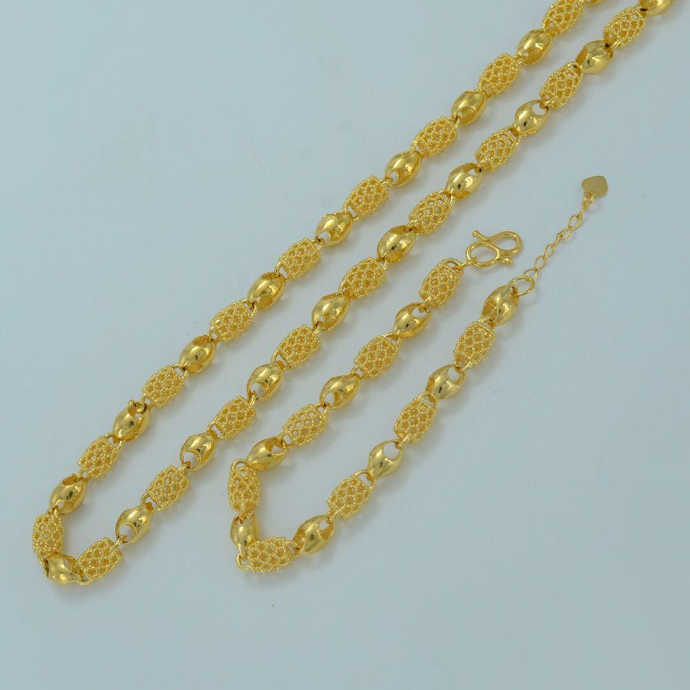 Dubai Gold Color Arab Ethiopian Thick Chain Necklace Bracelet for Women Hand Chain Wedding Party Jewelry sets #J0921