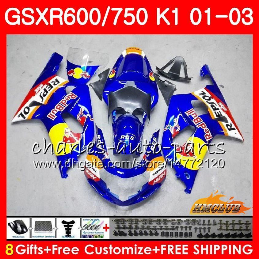 Azul Vermelho Amarelo 8Gifts para o corpo SUZUKI GSXR 600 750 GSXR600 2001 2002 2003 4HC.23 GSX R750 GSXR600 GSXR750 K1 GSXR750 01 02 03 Fairing kit