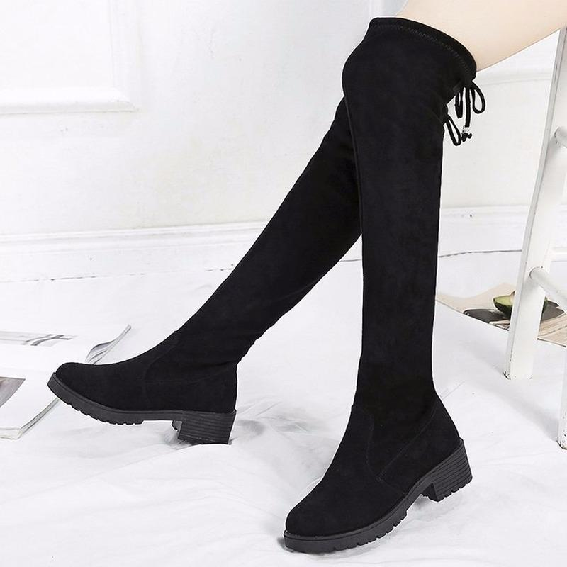 2019 tubo preto Botas Mujer Feminino inverno alta de curto preto Botas Mulheres sapatos baixos estiramento Sexy Fashion Shoes Flock K12-31