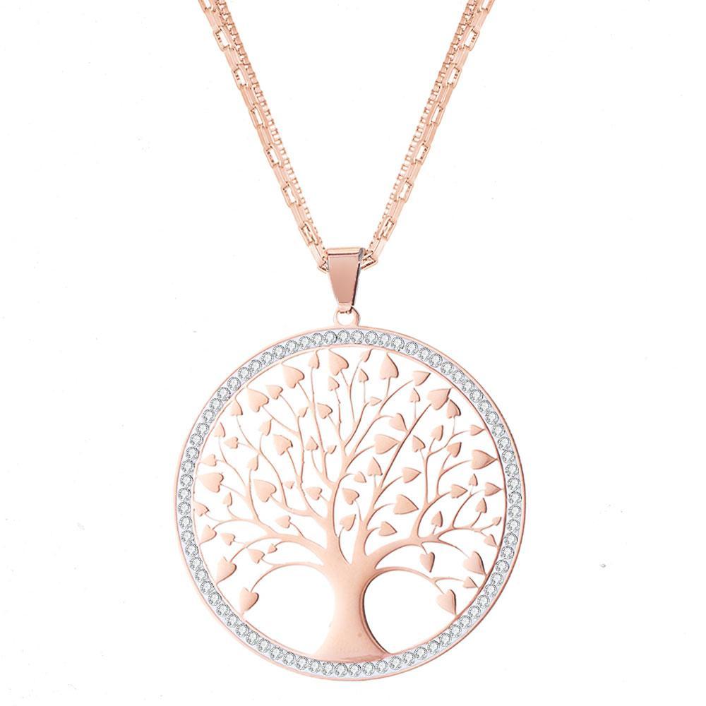 Collar colgante de árbol de la vida de acero inoxidable para mujeres cadenas de suéter encanto redondo grande collar largo fiesta joyería de moda regalos