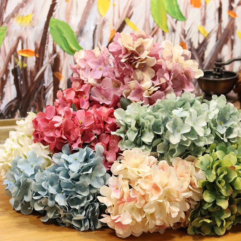 Artificielle Hydrangea Fleur de soie de Faux unique Real Touch Hortensias pour mariage Accueil Centerpieces Party fleurs décoratives