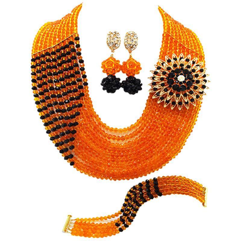 Venta caliente naranja negro Crysral mujeres aniversario perlas collar pendientes pulsera conjuntos 10C-CJZ-38