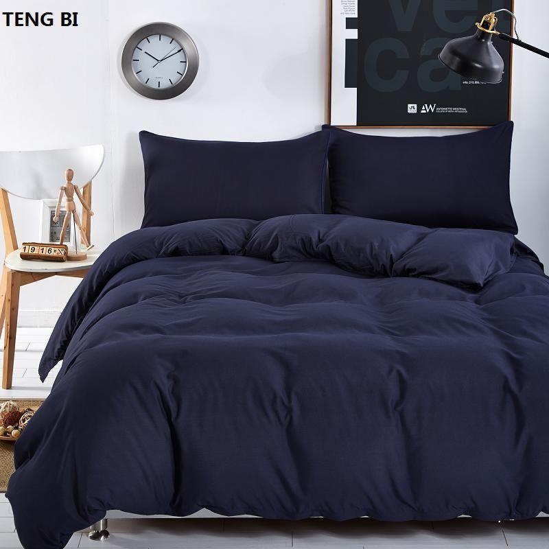 Nuovo design, colore solido, 3/4 set di biancheria da letto di materassi copriletto insiemi / piatto / federa Full size / regina / re Super King /