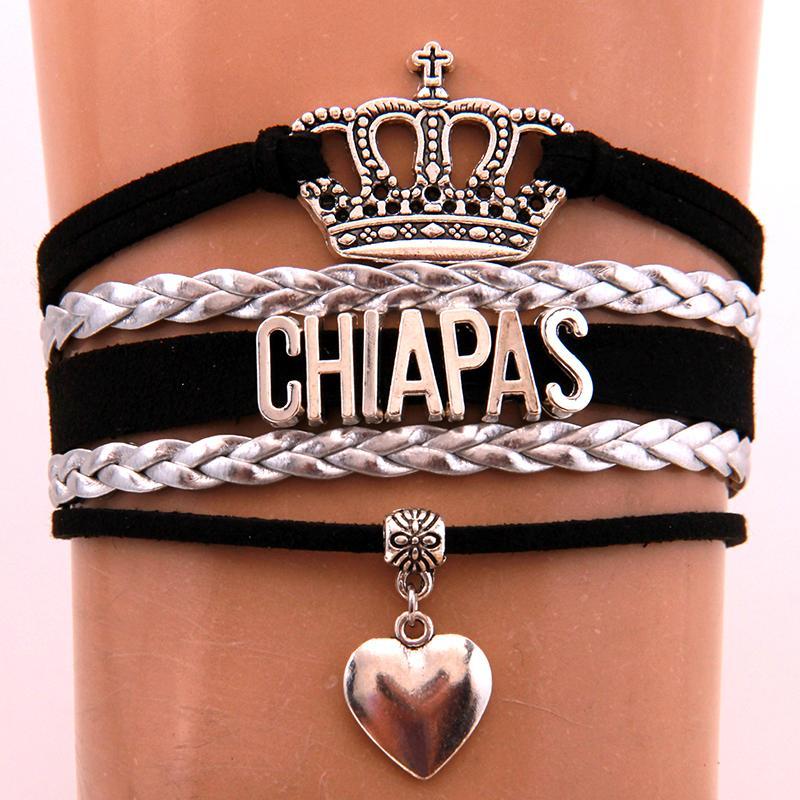 Mode Infini Amour Chiapas Bracelets Bangles Coeur Charm Bracelet Tressé Bijoux en cuir pour femmes hommes Drop Shipping