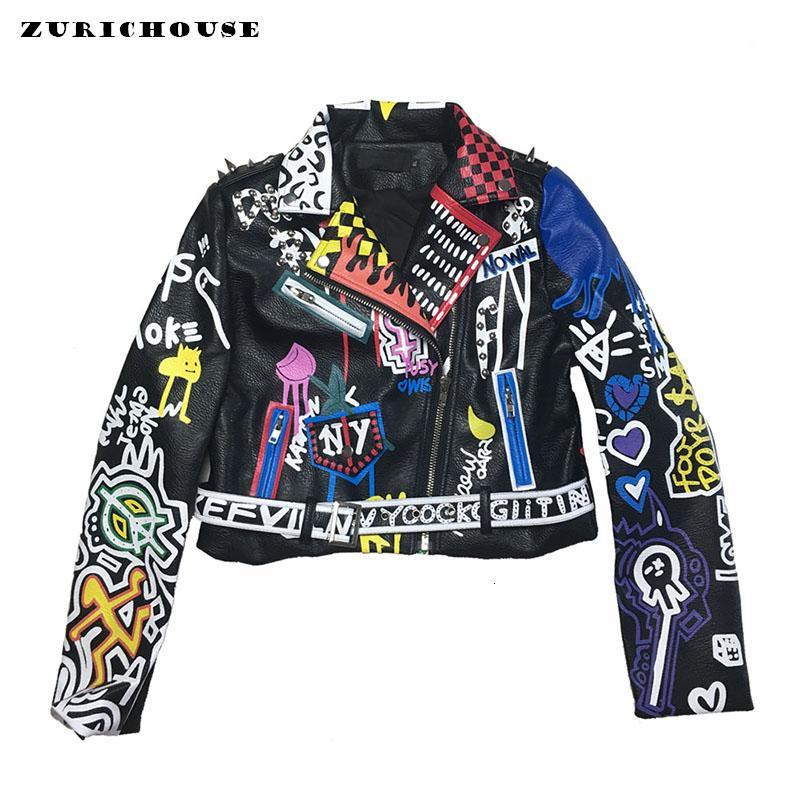 여성 2020 패션 다채로운 낙서 리벳 가짜 가죽 오토바이 바이커 재킷과 코트에 대한 ZURICHOUSE 펑크 가죽 자켓
