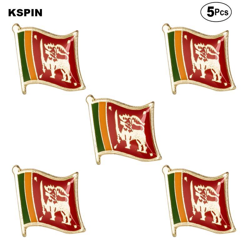 스리랑카 국기 브로치 옷깃 핀 깃발 배지 브로치 핀 배지 5PCS 데 많은