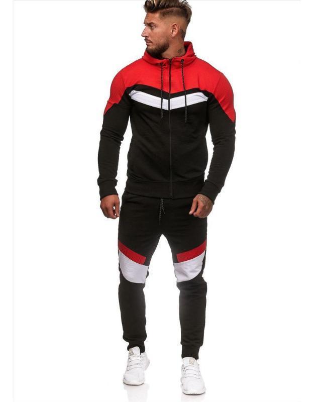 Estilo europeu e americano Matching Suit Hoodie Sports Academia Sports por Homens Ropa Para Hombre Casual Sweatsuit