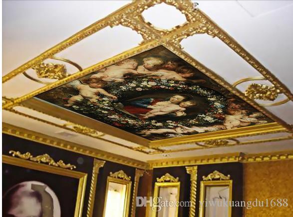 유럽의 아름다운 아들, 처녀 자리, 천정 벽화 3d 천장 벽화 벽지