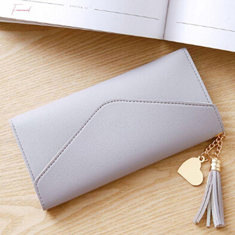 Portefeuille long Femmes porte-monnaie Tassel Card Porte-Monnaie Porte-Portefeuilles pour les femmes 2020 Pochette argent Pu Portefeuille en cuir