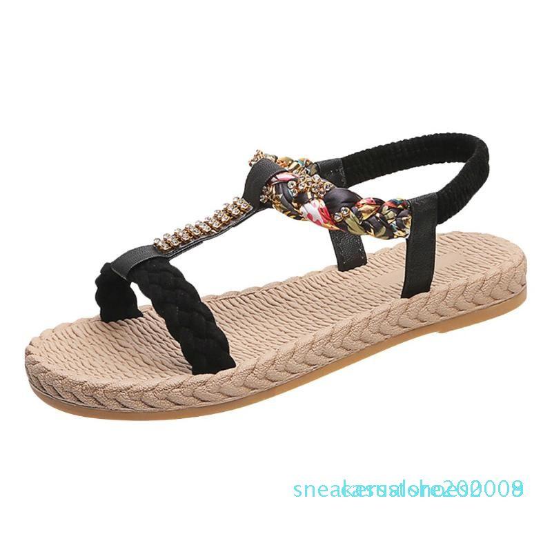 Cristal T-digitar Impresso Sandália de flores mulher elástico Peep Toe plana com sandálias Sapatos Mulher Zapatos de mujer 2020