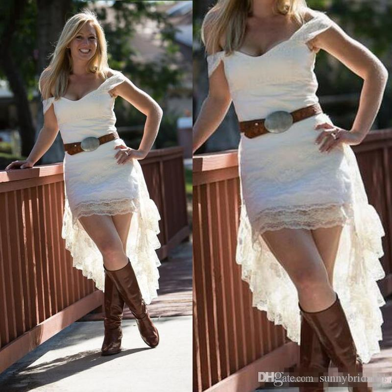 2018 Off The Shoulder Lace High Low Country Wedding Dresses Without Sash Cheap Short Front Long Back Bridal Gowns Casual Custom Made