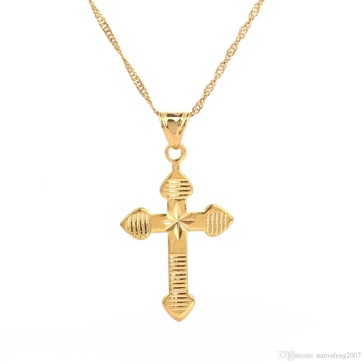 Moda mujer collar colgante con cadena de joyería de color oro antiguo crucifijo cruzado Jesús cruz colgante collar