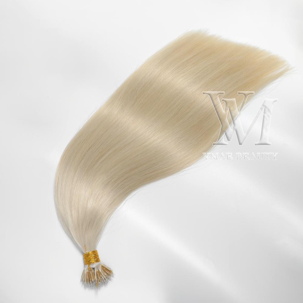 VMAE необработанные человеческие девственницы REMY наращивания волос прямые европейские одно донор кутикулы выровнены двойной нарисованный микро петлей нано