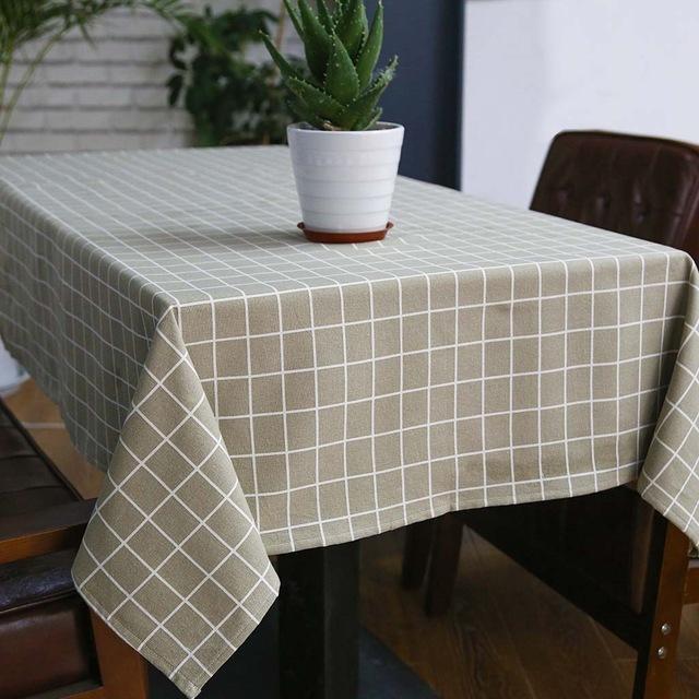 Sytlish Linen Cloth Style Country Print Plaid Imprimir Multifuncional Rectángulo Cubierta de tabla Mantel Home Kitchen Decoración