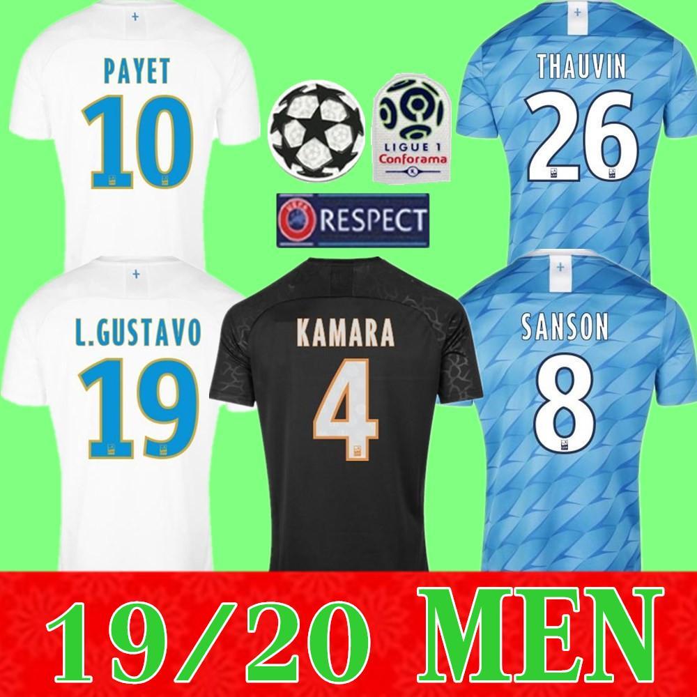 crianças kit + homens Olympique de Marseille Soccer Jersey 2019 2020 Marselha Maillot de foot BENEDETTO PAYET L GUSTAVO 19 20 Thauvin camisas