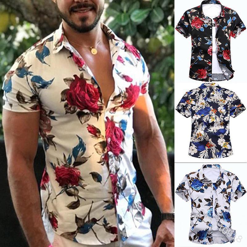 Летние Дизайнерские Повседневные Рубашки С Отложным Воротником С Коротким Рукавом Floar Print Homme Clothing Fashion Style Apparel Mens