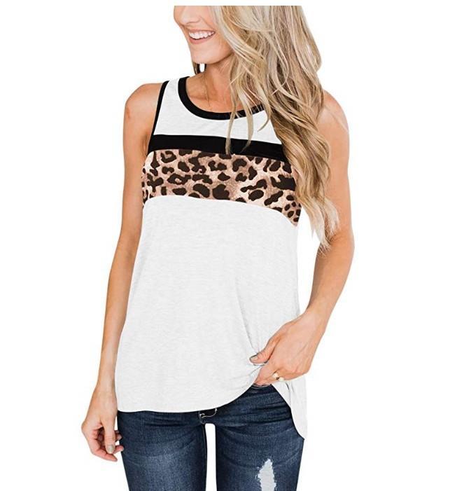 Frauen Leopard Printing Sleeveless T-Shirt Weibliche Designer Weste Damen O Ansatz beiläufige Tanks Top-Sommer-Kleidung