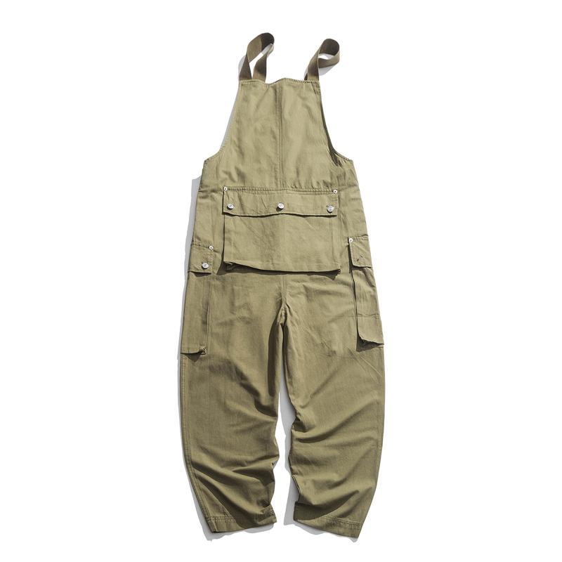 Японский инструмент стиль комбинезоны мульти-карман свободные нагрудник брюки ретро мыть повседневные брюки размер