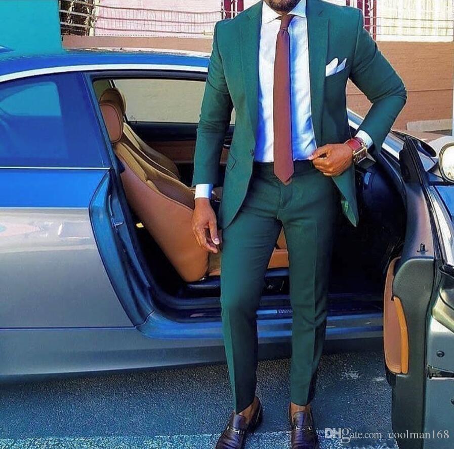 새로운 녹색 남자 웨딩 턱시도 노치 옷깃 하나 버튼 턱시도 인기 복장 남자 비즈니스 저녁 / 다트 정장 (자켓 + 바지 + 넥타이) 306