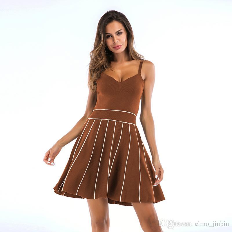 Streifen Hohe Taille Vintage Kleid Frauen 2019 Sommer vestidos weibliche Robe Weibliche Retro Vintage Kleider YY5746