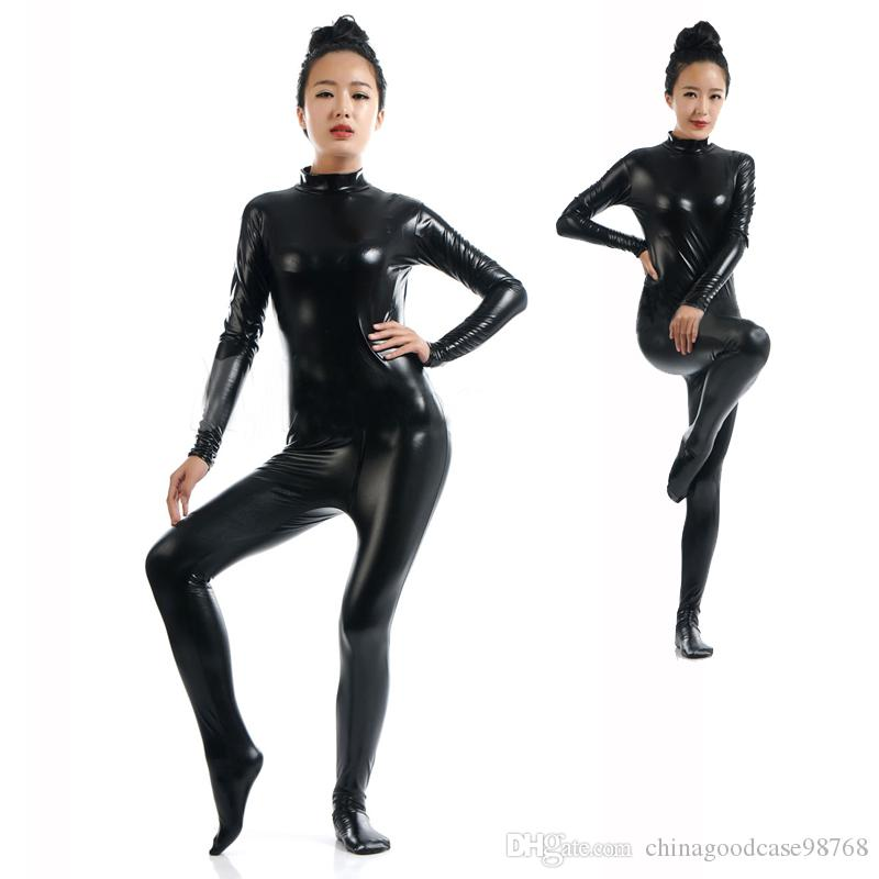Sexy Black Zentai Full Body Tight Jumpsuit Wetlook Faux Leather Catsuit Halloween Cosplay Stretchable Bodysuit Fetish Clubwear