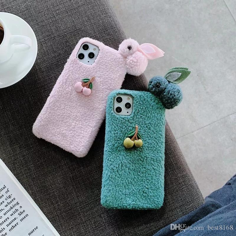3D Cherry Rabbit Fluffy Case For iPhone 11 Pro Max XR XS Max X 7 8 6 Plus Hair Fur Girl Cute Soft TPU Cartoon Back Cell Phone Covers Luxury