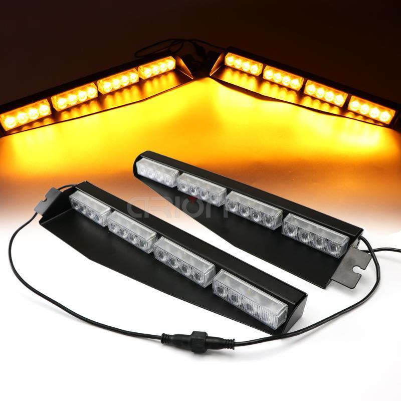 Car Truck 32 LED Strobe Flashing Light LED Emergency Warning Fog Lights Windshield Visor Deck Lamp 12V 24V Amber Red Blue