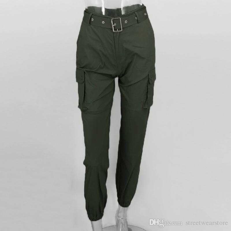 Großhandel Cargo Elastische Hose Damen Große Taschen Auf Beiden Seiten Hose Casual Lange Riemen Safari High Waist Pants Von Streetwearstore, $28.15