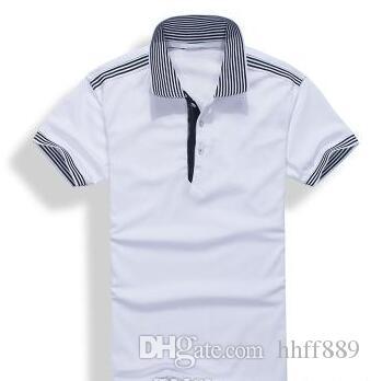 2017 novo de alta qualidade Summer Sale Hot lapela Polo camisa de algodão de manga curta Homens Esporte Polo listrado moda Casual frete grátis