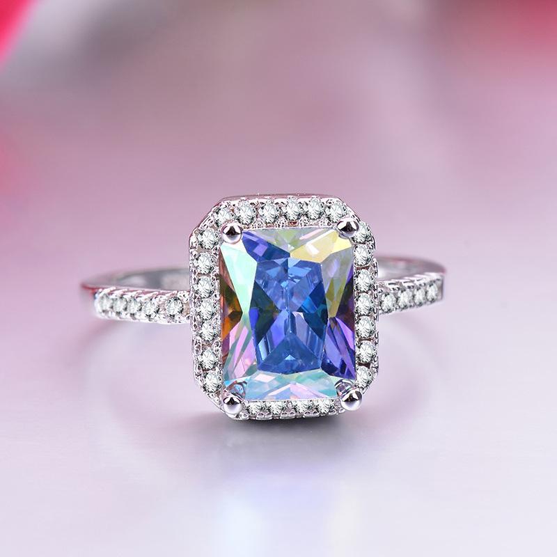 European Semplice rettangolare Zircone Principessa Anelli intarsiati zircone colorato 2019 moda donne gioielli delicati anelli di nozze anel