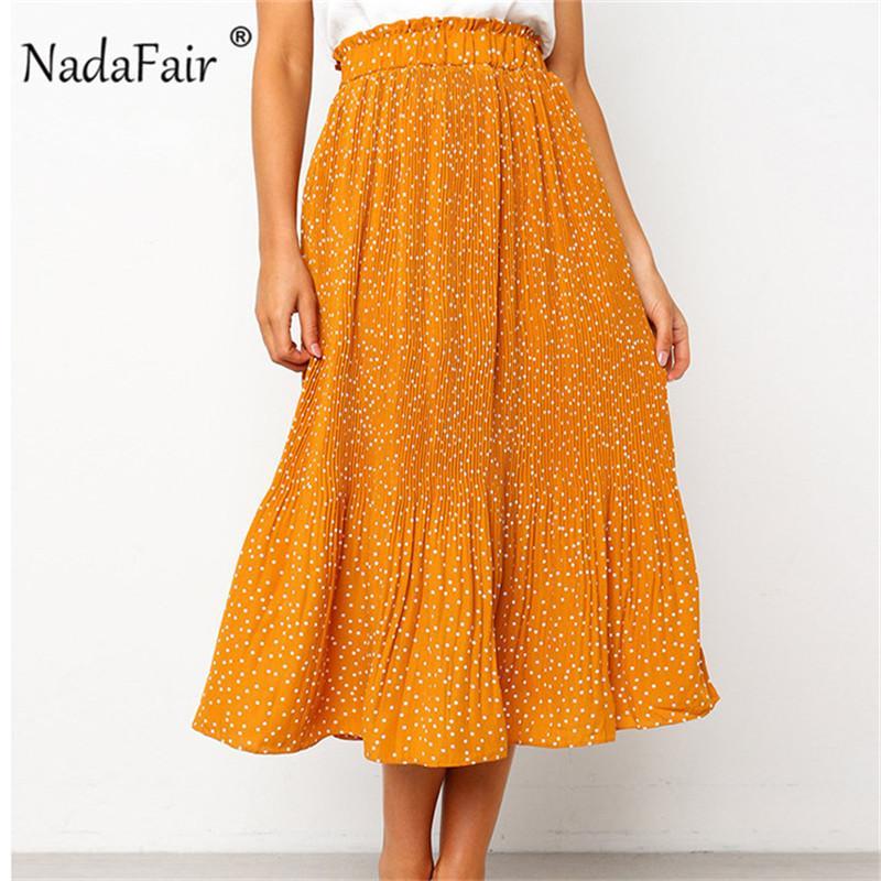 gros polka dot jupes plissées femmes été élastique taille haute midi jupes poches pour femmes casual point boho mousseline jupes