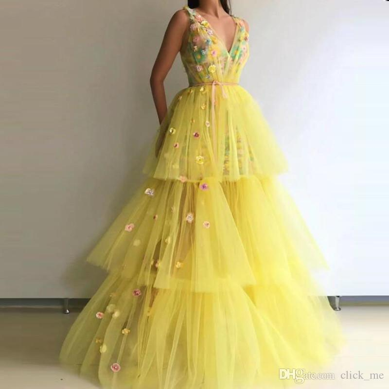 Yellow Princess Prom Dresses Sexy Deep V Neck Tiered Cake Skirts Handmade Flowers Girls Pageant Gowns Party Wear Tulle Evening Dress