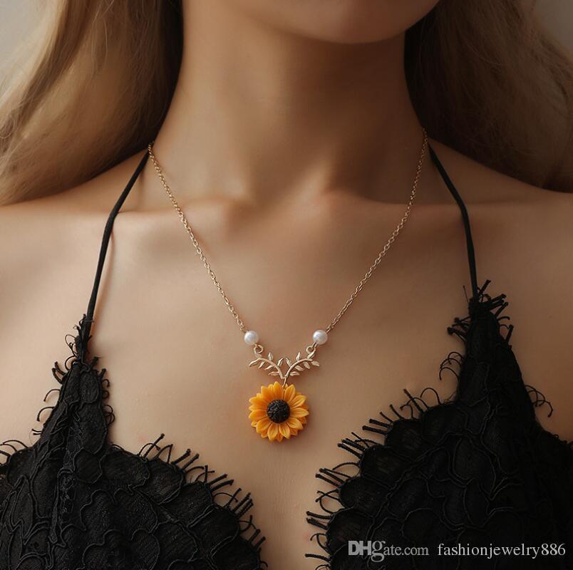 Cadeia Pingente encanto New Design Colar da flor do girassol Folha Pérola Twig clavícula colar para mulheres Lady