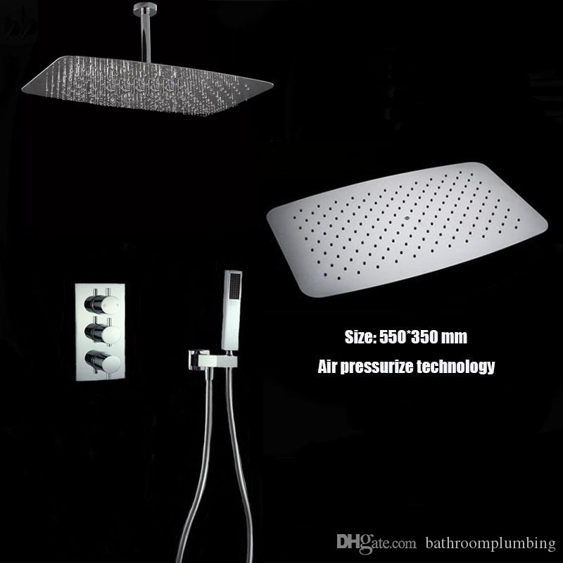 New design ceiling mounted high quality air pressurize thermostatic valve shower set 350*500mm large rain shower head