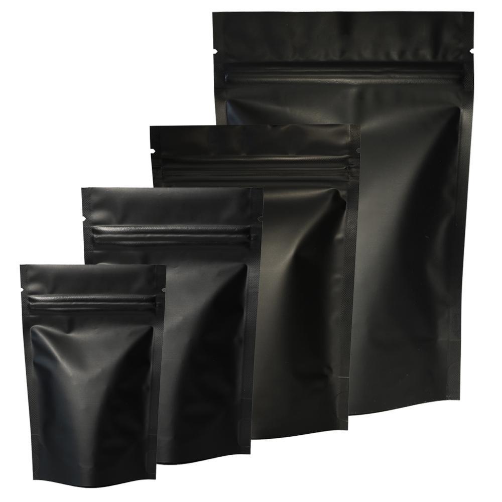 Hohe Qualität 100 stücke Heißsiegel Reißverschluss Packung Taschen Aluminiumfolie Mylar Träne Notch Matte Schwarz Ständer Up Tasche Großhandel