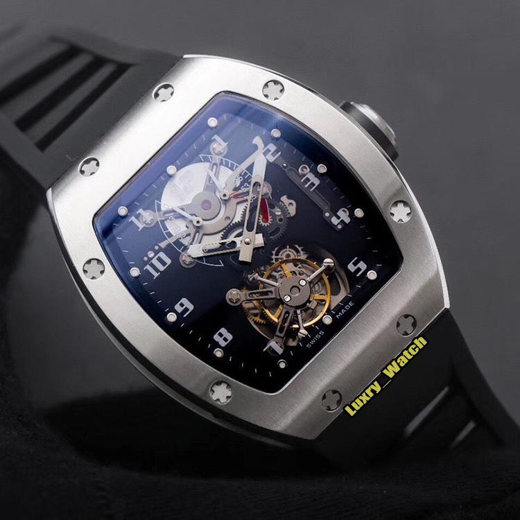 JB Upgrade Edition RM001 True Tourbillon Manual Mechanical Skeleton Dial RM 001 Mens Watch Five-axis CNC Technology Case Designer Watches