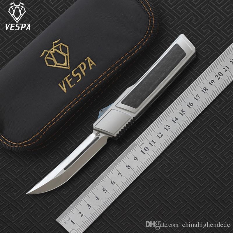 Vespa Blade: M390 (Satinato) Doppio Ripper Sopravvivenza pieghevole + Coltello EDC Coltelli da campeggio Maniglia: 7075Alluminum CF, strumenti all'aperto JNPWM